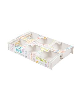 plateaux repas À emporter 6 verres 'parole' 450 g/m2 27,5x16x4 cm blanc carton (400 unitÉ)