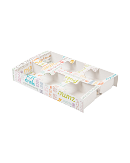 takeaway tabletts 6 becher 'parole' 450 g/m2 27,5x16x4 cm weiss feinkarton (400 einheit)