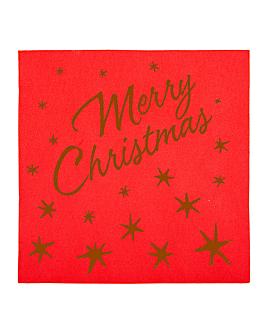 serviettes 'merry christmas' 55 g/m2 40x40 cm rouge dry tissue (700 unitÉ)