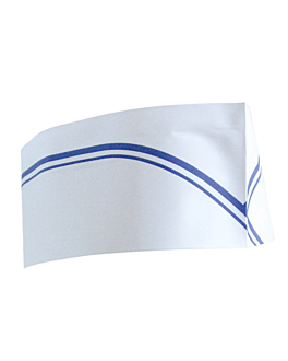 gorros ajustables barco franjas azules 28 cm blanco papel (100 unid.)