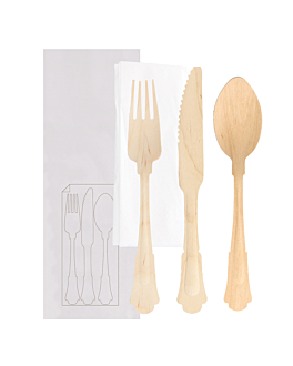 cutlery set fork, knife, spoon+napkin wrapped 'classic' 20 cm natural wood (100 unit)