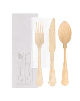 set tenedor, cuchillo, cuchara+servilleta enf. 'classic' 20 cm natural madera (100 unid.)