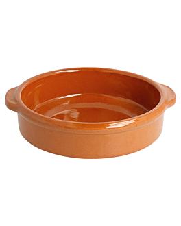 rÉcipients en faÏence avec anses 450 ml Ø 15x4,5 cm marron rougeatre ceramique (20 unitÉ)