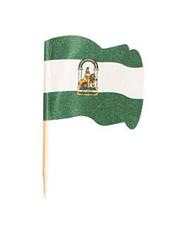 petits drapeaux andalucÍa 4x3/6,5 cm assorti bois (144 unitÉ)