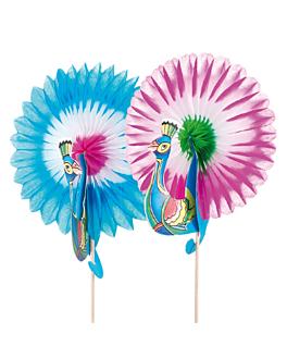 "decorazioni per gelati ""pavone reale"" Ø 8x10,5 cm colori varie legno (144 unitÀ)"
