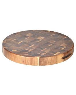 round presentation tray Ø 30,5x3,8 cm natural wood (6 unit)