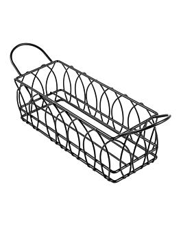rectangular basket 21x8x7 cm black steel (1 unit)