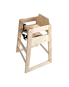high chair 51x51x74 cm natural wood (1 unit)