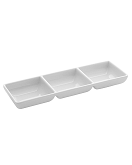 container for 3 sauces 140 gr. 22x7x2,5 cm white melamine (72 unit)