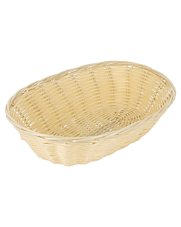 oval baskets imitation wicker 21x17x6 cm natural pp (12 unit)