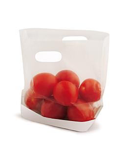 sachets avec base et poignÉes 'turtle pack' 50 g/m2 + 15 pp 22x18x4,5 cm blanc kraft (50 unitÉ)