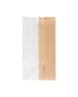sandwich bags with eco window 'corner window' 40 gsm 14+8x26 cm natural kraft (250 unit)