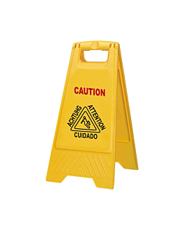 "sign ""wet floor"" 20x3x62 cm yellow pehd (1 unit)"