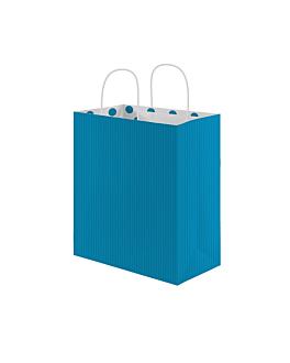 "bolsas sos con asas - int.""topos"" 80 g/m2 20+10x29 cm turquesa celulosa (250 unid.)"