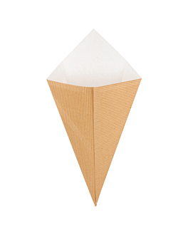 cardboard cones 'ondulatto' 250 g 16x27 cm natural kraft (600 unit)