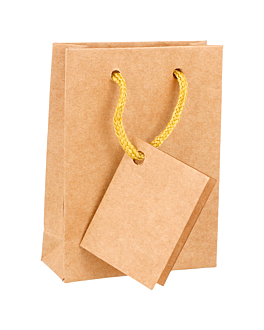 10 u. bolsas boutique, asa cordÓn 175 g/m2 8,3+3,3x10,8 cm natural kraft (1 unid.)