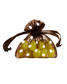 48 u. sachets organdy avec fermeture-À pois 12,5x11 cm chocolat microfibre (1 unitÉ)