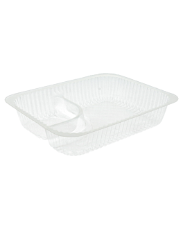 2 compartments trays 'nachos' 18,5x14x3,8 cm clear ops (900 unit)
