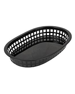 cestas alargadas 28x17,5x4 cm negro pp (12 unid.)