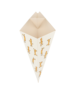 cones with flaps 'chips' 250 g 275 gsm 16x27 cm white cardboard (1200 unit)