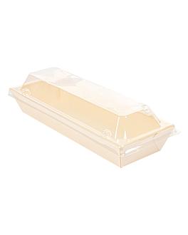 combo containers + pet lids 19x7x5,5 cm natural wood (200 unit)