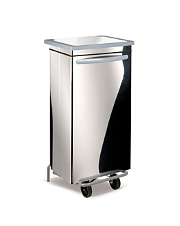 mobile push pedal container 100 l 47x42x97 cm silver stainless steel (1 unit)