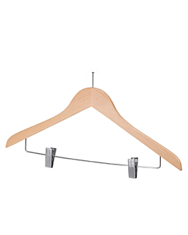 antitheft hangers with clips 44,5x1,2x24,5 cm natural wood (48 unit)