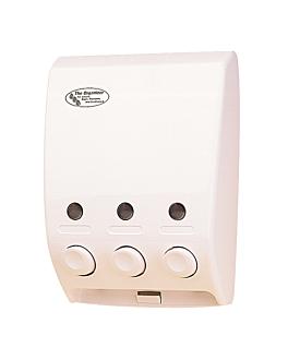 distributeur savon 3 produits 20x9,7x27 cm blanc abs (1 unitÉ)