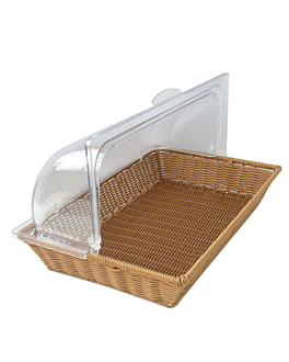 basket imitation wicker with cover gn 1/1  brown pp (1 unit)