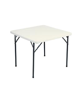 table carrÉe pliable 86x86x74 cm creme pe (1 unitÉ)