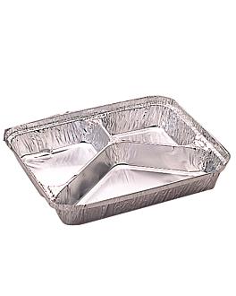 recipientes 3 compartimentos 380/220/166 ml 22,7x17,8x3 cm aluminio (800 unid.)