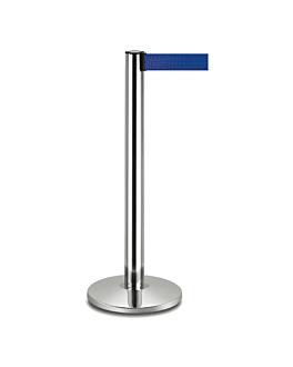 columnas mÓviles con cinta retrÁctil Ø 36x104 cm azul aluminio (2 unid.)