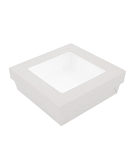 small boxes+lids w/window 750 ml 270 + 18 pe gsm 14x14x5 cm white cardboard (250 unit)