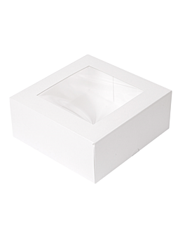 cake boxes with window 'thepack' 250 gsm + opp 18x18x7,5 cm white nano-micro corrugated cardboard (200 unit)