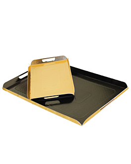 trays with handles 750 gsm 28x42 cm black/gold cardboard (100 unit)