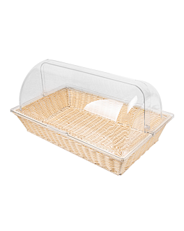 basket imitation wicker with cover gn 1/1  beige pp (1 unit)