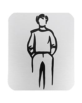 "placa autoadesivas ""homens"" 12,2x14x0,1 cm branco alumÍnio (1 unidade)"