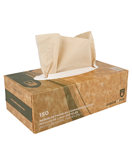 150 u. facial tissues 2 ply 21x21 cm natural recycled tissu (1 unit)