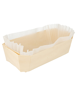 100 u. wooden containers + siliconed molds 23x13x7 cm natural wood (100 unit)