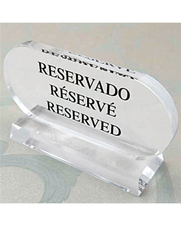 "table sign ""reservado-rÉservÉ-reserved"" 13,5x7,5 cm clear acrylic (2 unit)"