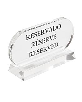 """cartello """"reservado-rÉservÉ-reserved"""" 13,5x7,5 cm trasparente acrilico (2 unitÀ)"""