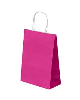 sos bags with handles 80 gsm 26+14x32 cm fuchsia cellulose (250 unit)