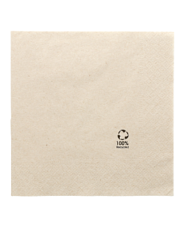 ecolabel napkins 2 ply 'paper pack' 18 gsm 39x39 cm natural recycled tissue (1600 unit)