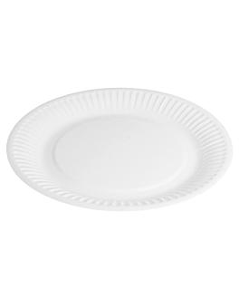 round embossed bio-lacquered plates 202 gsm Ø 18 cm white cardboard (1000 unit)