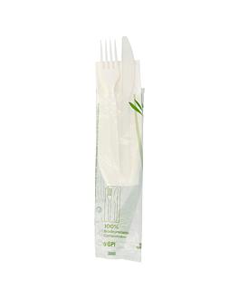 cutlery sachets 3/1 knife+fork+napkin 18 cm white cpla (500 unit)