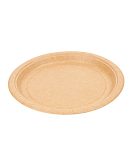 lacquered round plates 255 gsm Ø 22 cm natural cardboard (400 unit)