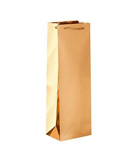 10 u. wine bottle bags , metallic gloss 120 g/m2 12,3+7,8x36 cm gold paper (1 unit)