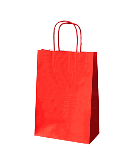 sos bags with handles 80 gsm 26+14x32 cm red kraft (250 unit)