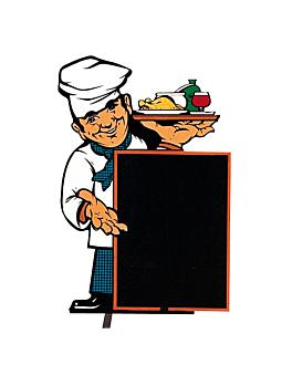 """cartelera exterior """"cocinero"""" 100x145 cm negro madera (1 unid.)"""