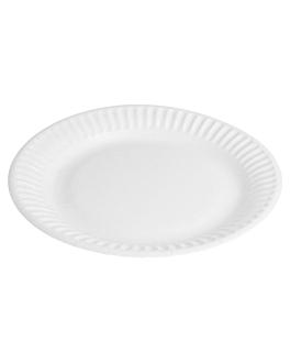round embossed bio-lacquered plates 202 gsm Ø 15 cm white cardboard (900 unit)